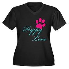 Puppy Love Women's Plus Size V-Neck Dark T-Shirt