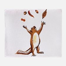 Squirrel Throwing Nuts And Leaves In The Air Throw