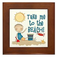To the Beach (Boy) Framed Tile