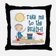 To the Beach (Boy) Throw Pillow