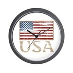 USA Distressed Flag 4th of July Wall Clock