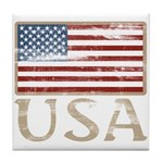 USA Distressed Flag 4th of July Tile Coaster