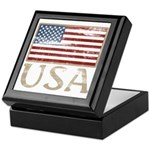 USA Distressed Flag 4th of July Keepsake Box