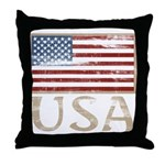 USA Distressed Flag 4th of July Throw Pillow