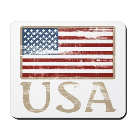 USA Distressed Flag 4th of July Mousepad