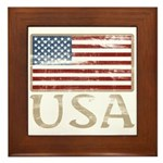 USA Distressed Flag 4th of July Framed Tile