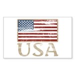 USA Distressed Flag 4th of July Sticker (Rectangul