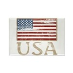 USA Distressed Flag 4th of July Rectangle Magnet (