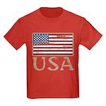 USA Distressed Flag 4th of July Kids Dark T-Shirt
