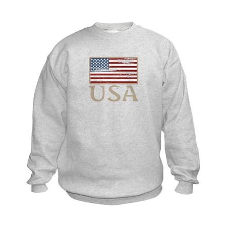 USA Distressed Flag 4th of July Kids Sweatshirt