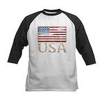 USA Distressed Flag 4th of July Kids Baseball Jers