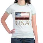 USA Distressed Flag 4th of July Jr. Ringer T-Shirt