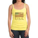 USA Distressed Flag 4th of July Jr. Spaghetti Tank