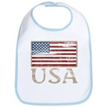 USA Distressed Flag 4th of July Bib