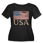 USA Distressed Flag 4th of July Women's Plus Size