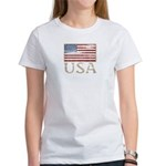 USA Distressed Flag 4th of July Women's T-Shirt