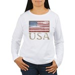 USA Distressed Flag 4th of July Women's Long Sleev