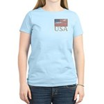 USA Distressed Flag 4th of July Women's Light T-Sh