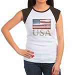 USA Distressed Flag 4th of July Women's Cap Sleeve