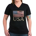 USA Distressed Flag 4th of July Women's V-Neck Dar