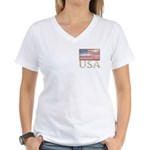 USA Distressed Flag 4th of July Women's V-Neck T-S