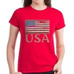 USA Distressed Flag 4th of July Women's Dark T-Shi