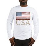 USA Distressed Flag 4th of July Long Sleeve T-Shir