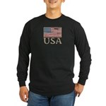 USA Distressed Flag 4th of July Long Sleeve Dark T