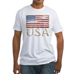 USA Distressed Flag 4th of July Fitted T-Shirt
