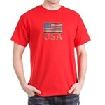 USA Distressed Flag 4th of July Dark T-Shirt