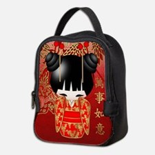 Good Luck Chinese Kokeshi Doll Neoprene Lunch Bag