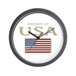 Property of USA Flag July 4th Wall Clock