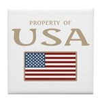 Property of USA Flag July 4th Tile Coaster