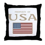 Property of USA Flag July 4th Throw Pillow