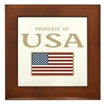 Property of USA Flag July 4th Framed Tile