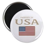 "Property of USA Flag July 4th 2.25"" Magnet (100 pa"