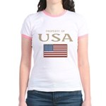 Property of USA Flag July 4th Jr. Ringer T-Shirt