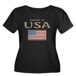Property of USA Flag July 4th Women's Plus Size Sc
