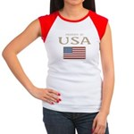 Property of USA Flag July 4th Women's Cap Sleeve T