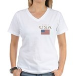 Property of USA Flag July 4th Women's V-Neck T-Shi