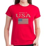 Property of USA Flag July 4th Women's Dark T-Shirt