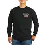 Property of USA Flag July 4th Long Sleeve Dark T-S