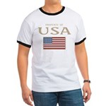 Property of USA Flag July 4th Ringer T