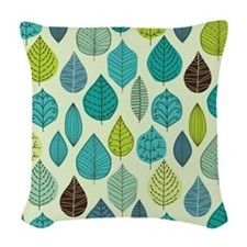 Turquoise Leaves Woven Throw Pillow