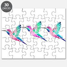Trio of Raspberry Mint Sorbet Hummingbirds Puzzle