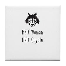 Half Woman Half Coyote Tile Coaster