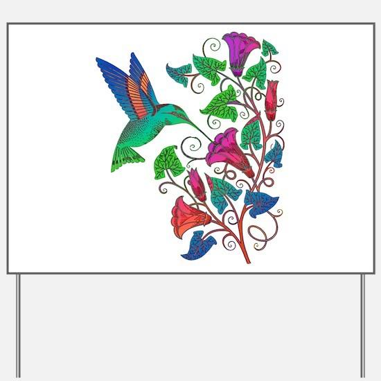 Rainbow Hummingbird on Trumpet Vine Yard Sign