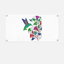 Rainbow Hummingbird on Trumpet Vine Banner