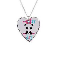 1st Birthday Girl Panda Bear Necklace