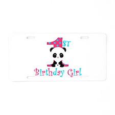 1st Birthday Girl Panda Bear Aluminum License Plat